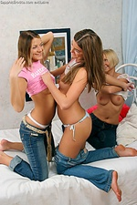 Brunette minxes undress smooch and fondle