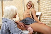 Four gorgeous teens in sultry lesbian orgy