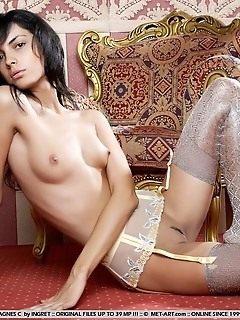 Refined babe with slender body and svelte, long legs.
