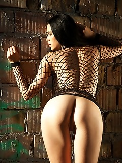 Mirela a mirela a wearing a black fishnet lingerie and matching strappy stilettos