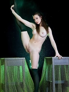 Breathtaking display of smooth, shapely legs in tight, sheer stockings.