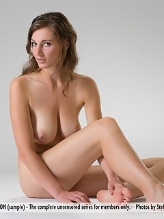Fun and ever-smiling adriana f with smooth pale skin, perky nipples, and wide open poses