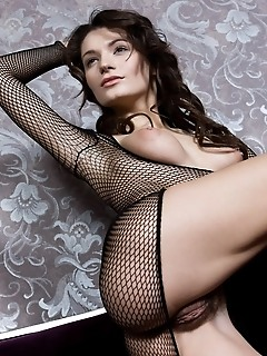 Sultry brunette in revealing fishnet lingerie and naughty poses.