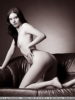Breathtaking model in elegant poses and stylish monochrome shots.