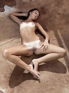 """Veselin """"veselins soft, feminine curves, beutifully tanned skin, and sensual appeal stands out as she lays on a brown rug"""""""