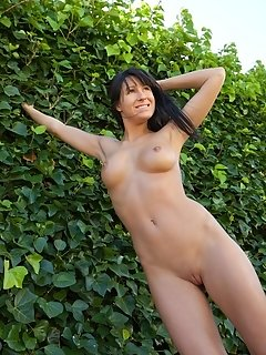 Liuko a enjoys being nude in the fall weather