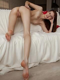 Juliett lea juliett lea bares her slender body as she strips her dress on the bed.