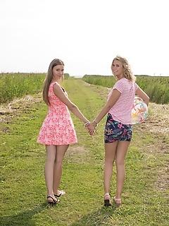 Cute lesbians on a beach