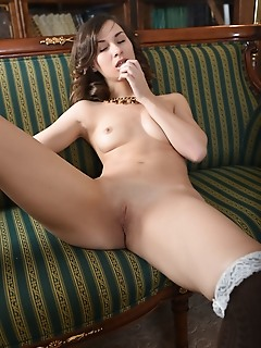 Kristi c newcomer kristi c spreads her legs wide open baring her smooth pussy.