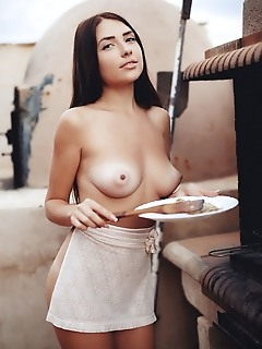 Niemira niemira flaunts her puffy tits and delectable pussy in the veranda.