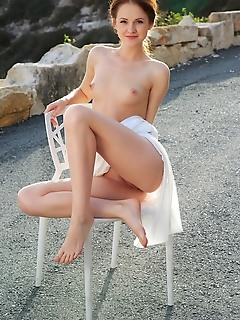 Alice may alluring alice may shows off her creamy body and pink pussy outdoors
