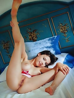 Mila azul top model mila azul bares her beautiful titties and sweet pussy on the bed.