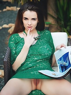 Maible maible strips her green dress outdoors as she bares her huge titties.
