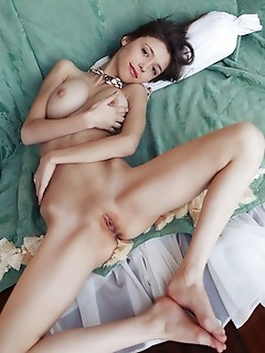 Mila azul mila azul bares her gorgeous tits and sweet pussy on the bed.