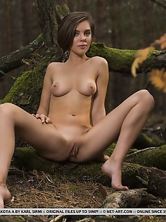 Dakota a dakota a took pictures of her delectable pussy in the forest.
