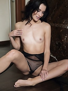Elouisa raven-haired stunned named elouisa wearing a sheer black lingerie that highlights her smooth skin and seductive appeal