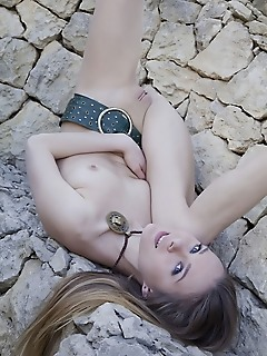 Katie a like a stunning goddess, katie a slowly strips off her long dress and starts posing naked in the garden