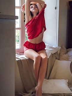 Sultana sultana strips her nightdress by the window baring her perky tits and sweet pussy.