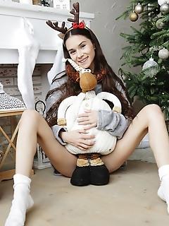 Brunette in white socks