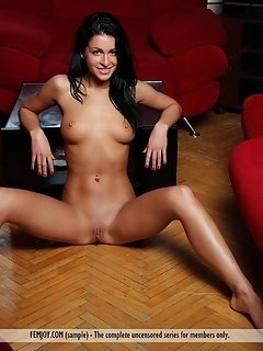 Irina strips and shamelessly exhibits her smooth, pink labia and sexy legs with inviting, wide open poses.