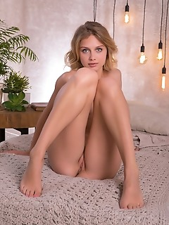 Clarice clarice strips in the bedroom as she bares her creamy, slender body.