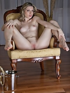 Green-eyed beauty with ultra smooth pale body and pink, supple assets.