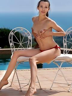 Adel morel adel morel strips her sexy, red bikini as she flaunts her tight body.