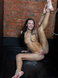 Rafaella rafaella bares her wet, tight body as she takes a shower.