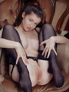 Emily bloom cute but seductive emily bloom in a sexy matching lingerie and matching thigh-high stockings
