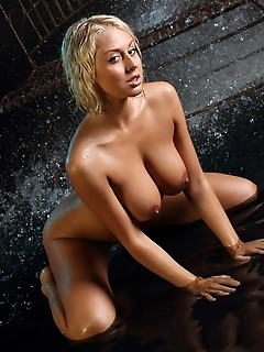 Busty blonde in a wet, erotic series.
