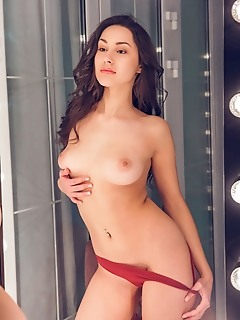 Angelina socho angelina socoho admires her lean and slender body as she takes off her dress in the dressing room