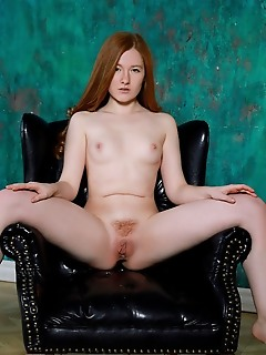 Anicka redhead anicka bares her smooth, creamy body and hairy pussy as she strips her black nightgown.