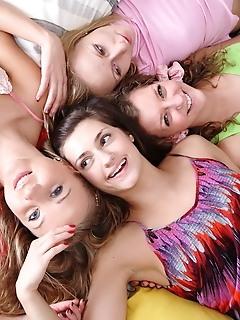 Teen lesbian group sex